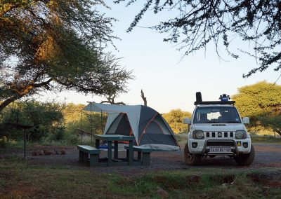 Camp site setup on safari