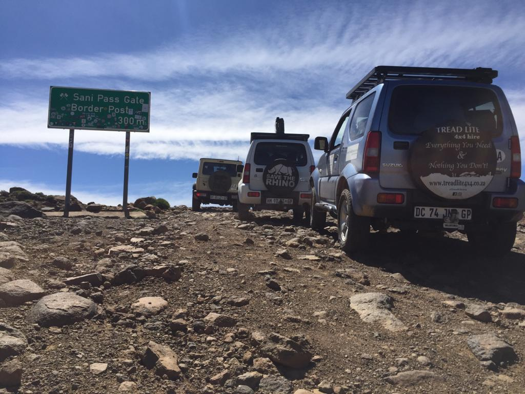 On of our Jimny rentals climbing Sani Pass