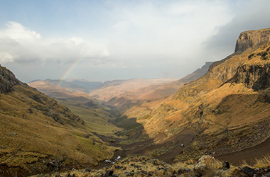 Scaling Sani Pass between South Africa and Lesotho