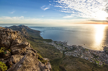 Camps Bay from Table Mountain in Cape Town